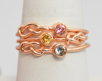 Grab 3 14k Rose Gold Filled Infinity Ring, Rose Gold Filled Ring, Stackable Rings, Mothers Ring, Birthstone, Rose Gold, Rose Gold Knot Ring