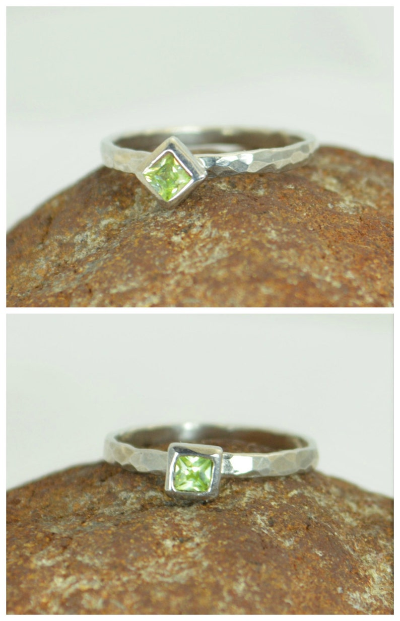 Square Peridot Ring Peridot White Gold Ring August's image 0