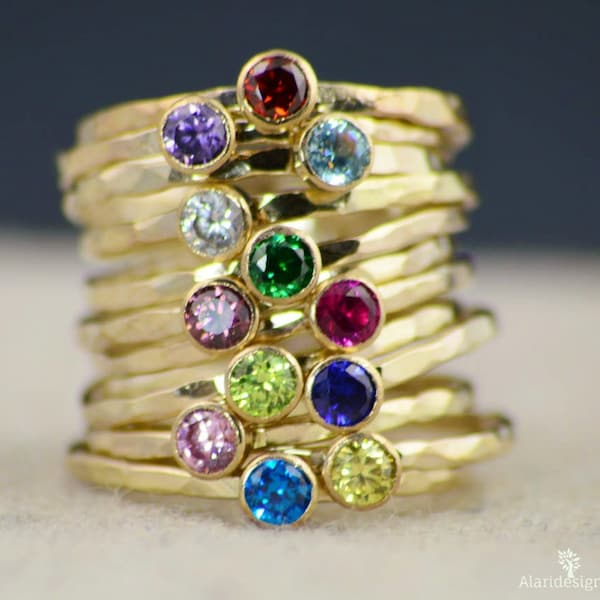 Dainty Gold Filled Topaz Ring Hammered Gold Stacking Rings image 2