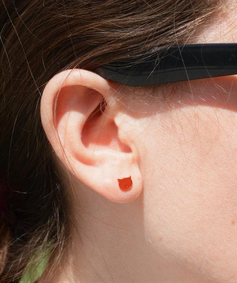 Cat Stud Earrings Orange Cat Earrings Nano Ceramic Stud image 0