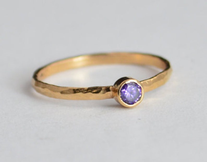 Classic Solid 14k Rose Gold Amethyst Ring Solitaire Ring image 0