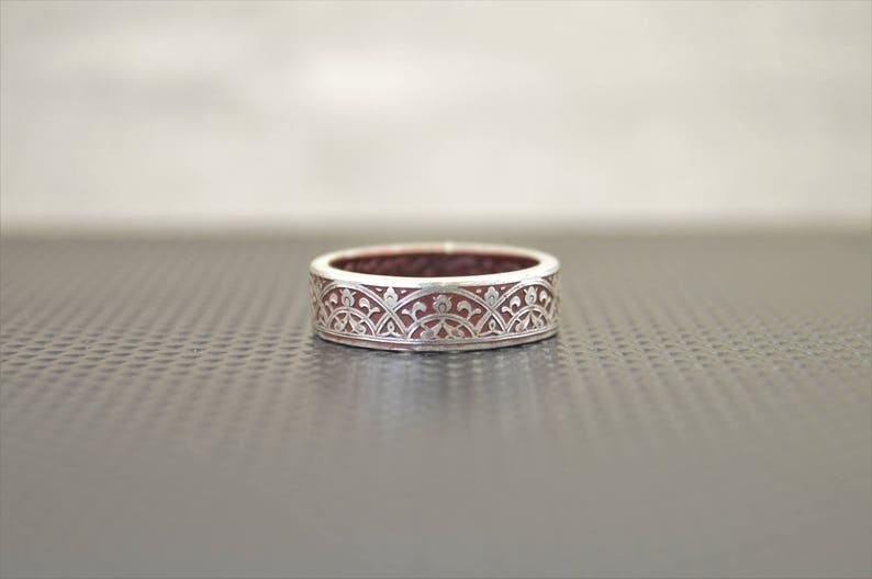 Moroccan Coin Ring Burgundy Coin Ring Stained Glass Ring image 0