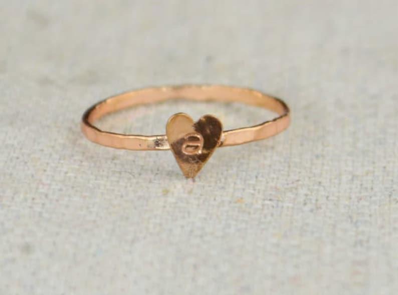 Tiny Golden Rose Heart Ring Sterling Silver Golden Rose image 0