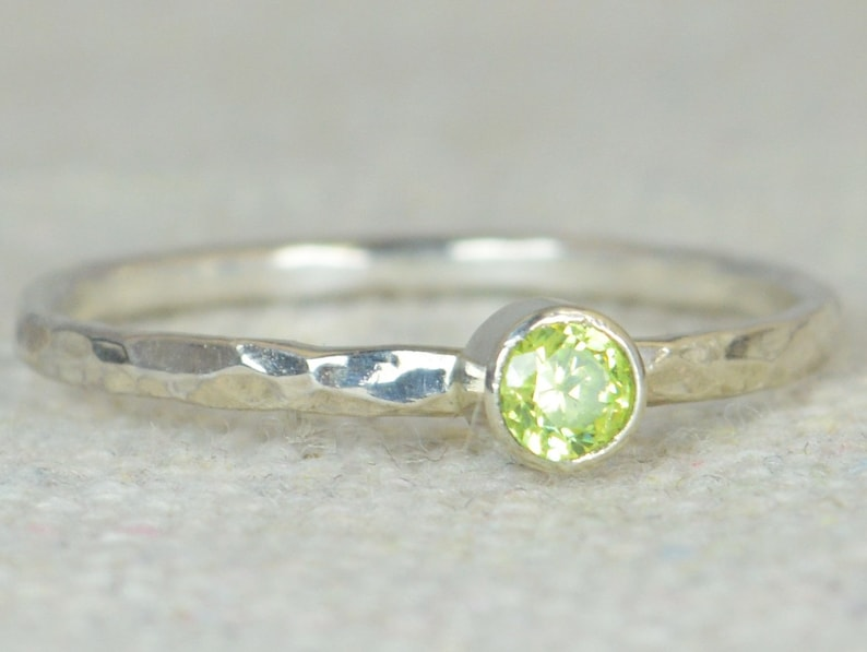 Dainty Peridot Ring Hammered Silver Stackable Rings image 0