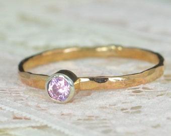 Pink Tourmaline Engagement Ring, 14k Rose Gold, Pink Tourmaline Wedding Ring Set, Rustic Wedding Ring Set,October Birthstone, Solid 14k Ring
