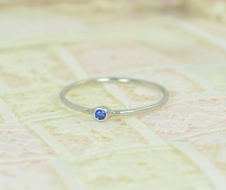 Tiny Sapphire Ring Set Solid White Gold Wedding Set Stacking image 0