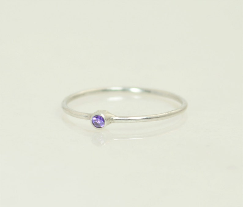 Tiny Amethyst Ring White Gold Amethyst Stacking Ring image 0