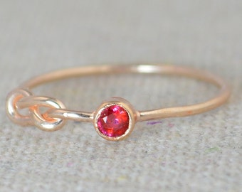 Ruby Infinity Ring, Rose Gold Filled Ring, Stackable Rings, Mothers Ring, July Birthstone Ring, Red Ring, Rose Gold Knot Ring, Band