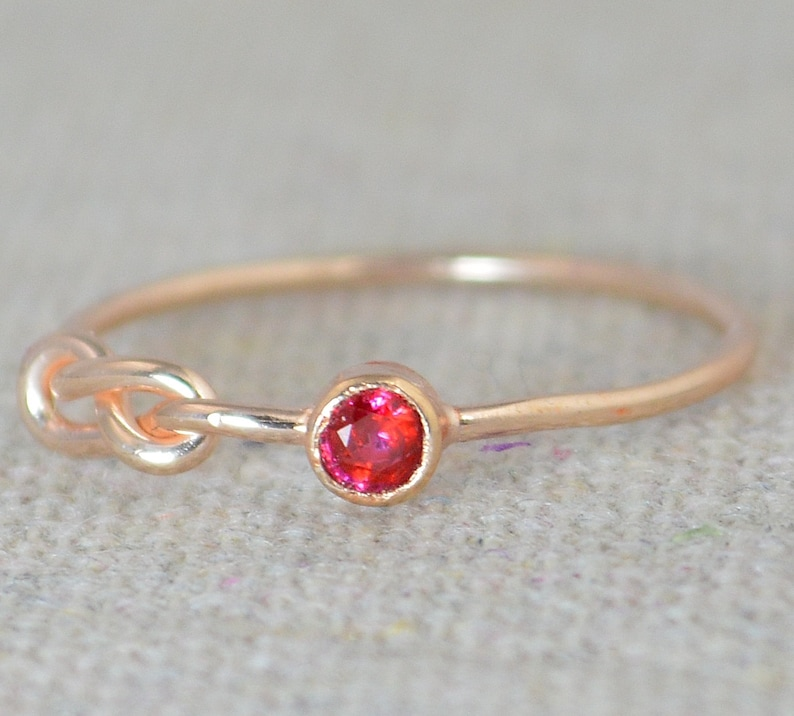 Ruby Infinity Ring Rose Gold Filled Ring Stackable Rings image 0