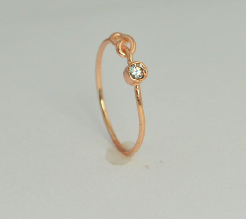 14k Rose Gold Aquamarine Infinity Ring 14k Rose Gold image 0