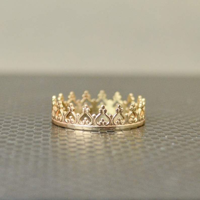 Dainty Solid 14k Gold Crown Ring Gold Princess Crown image 0