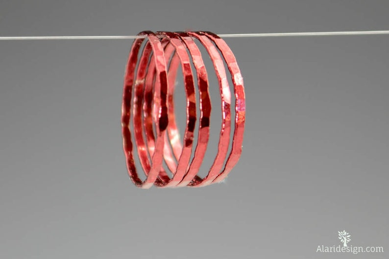 Super Thin Cherry Silver Stackable Rings Red Ring Stack image 0