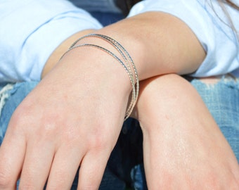 Thin Silver Bangle, Flattened Twist Bangle, Thin Bangle, Stacking Bangles, Sterling Silver Bangle, silver bracelet, stacking bangle, silver