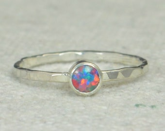 Small Silver Opal Ring, Multi-Color Sterling Opal Ring, Blue Opal Ring, Mothers Ring, Opal Jewelry, Stacking Ring, October Birthstone Ring