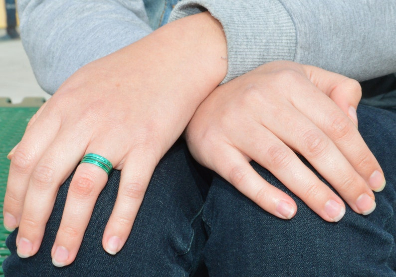 Super Thin Emerald Silver Stackable RingsGreen Ring Stack image 0