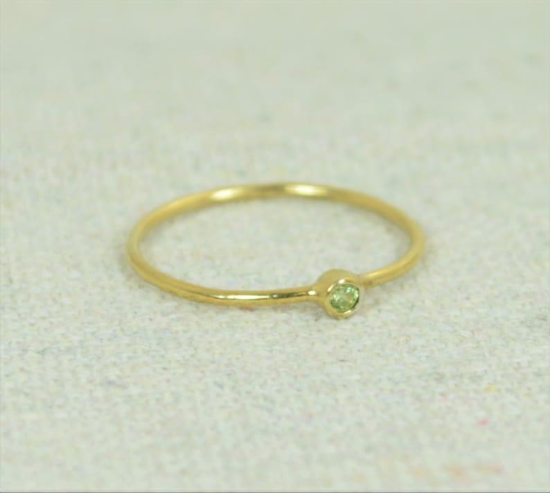 Tiny Peridot Ring Gold Filled Ring Stacking Ring Dainty image 0