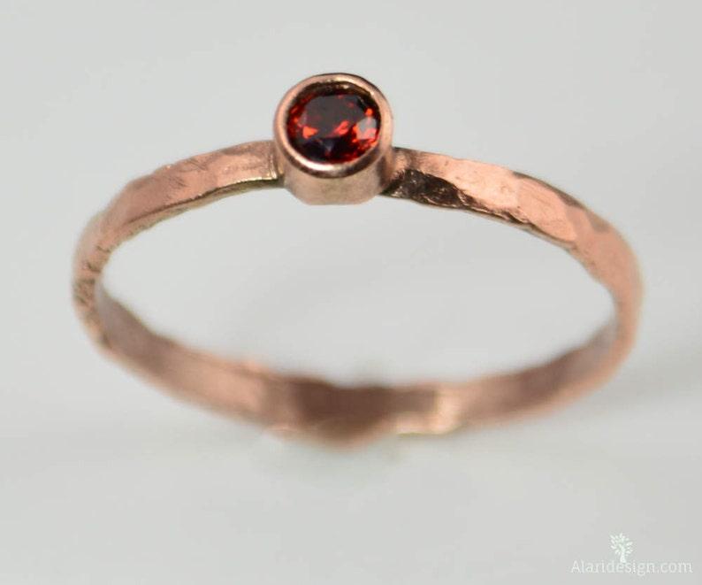 Copper Garnet Ring Classic Ring Stackable Rings Garnet image 0