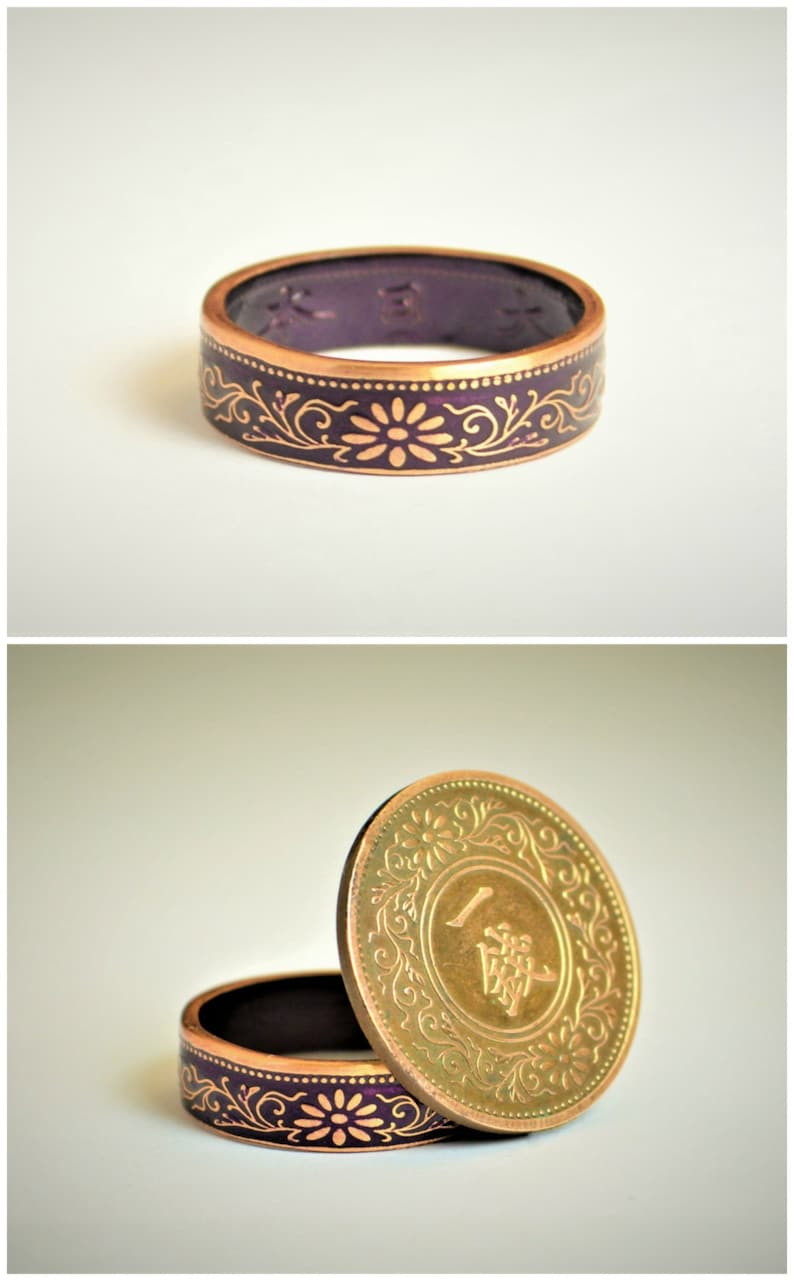 Coin Ring Purple Ring Japanese Ring Coin Ring  Japanese image 0