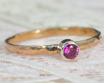 Ruby Engagement Ring, 14k Rose Gold, Ruby Wedding Ring Set, Rustic Wedding Ring Set, July Birthstone, Solid 14k Ruby Ring
