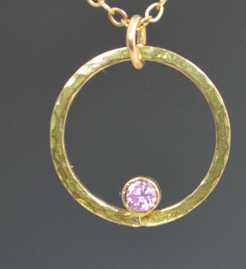 Solid 14k Gold Pink Tourmaline NecklaceMom NecklaceOctober image 0