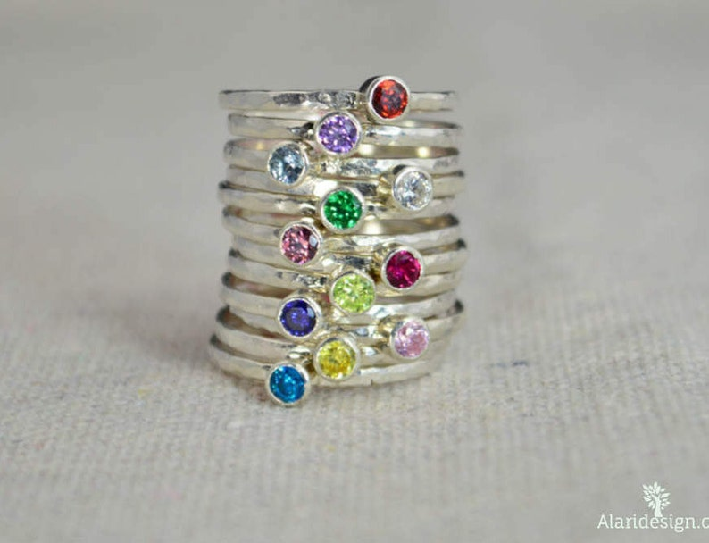 Classic Sterling Silver Birthstone Ring 3mm Silver solitaire image 0