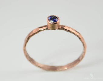 Copper Sapphire Ring, Classic Size, Stackable Ring, Sapphire Mother's Ring, September Birthstone Ring, Copper Jewelry, Sapphire Ring,
