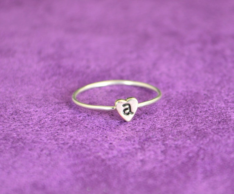 Monogram Heart Ring Initial Heart Ring Silver Heart Ring image 0