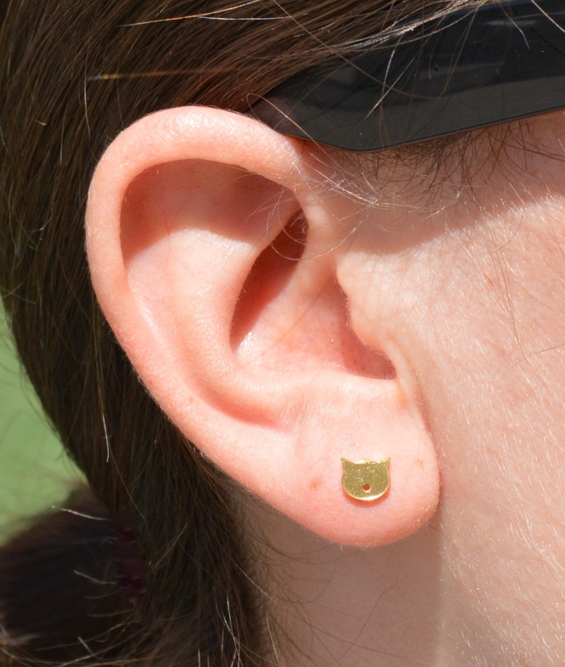 Cat Stud Earrings Gold Cat Earrings Nano Ceramic Stud image 0