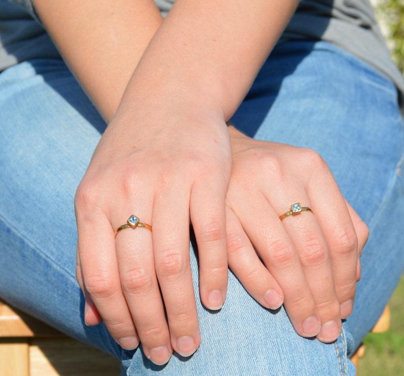 Square Aquamarine Ring Gold Filled Aquamarine Ring March image 0