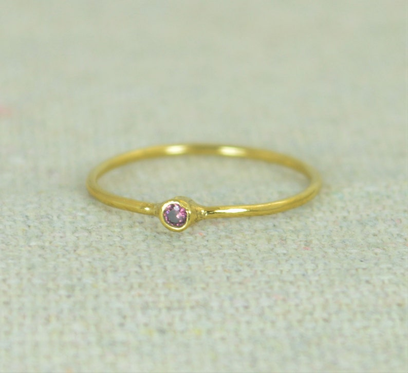 Tiny Alexandrite Ring Alexandrite Stacking Ring Gold Filled image 0