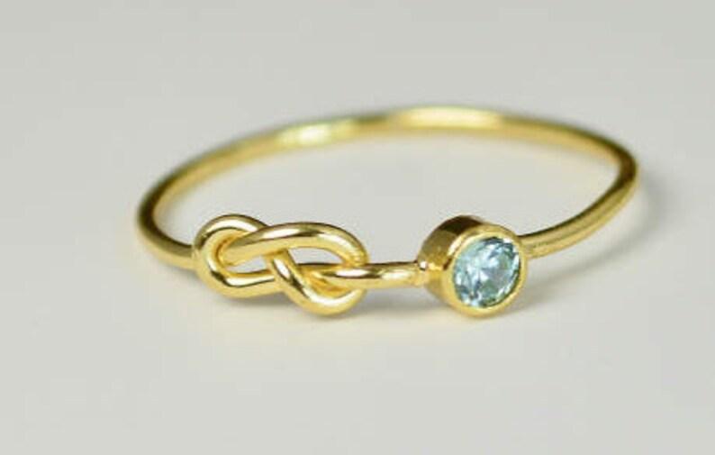 14k Gold Aquamarine Infinity Ring 14k Gold Ring Stackable image 0