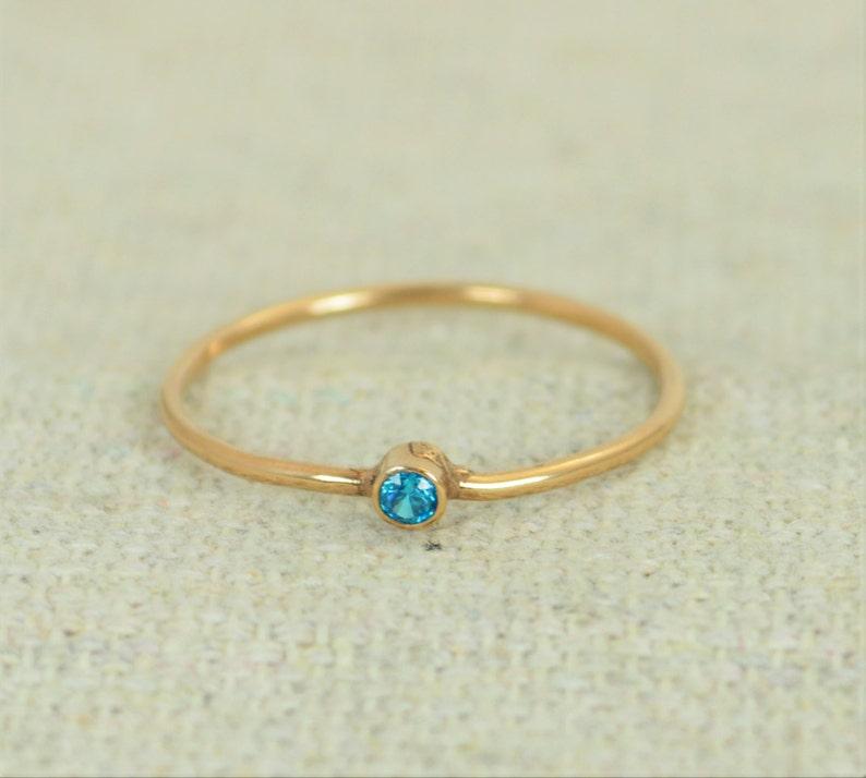 Tiny Rose Gold Filled Blue Zircon Ring Rose Gold Filled Blue image 1