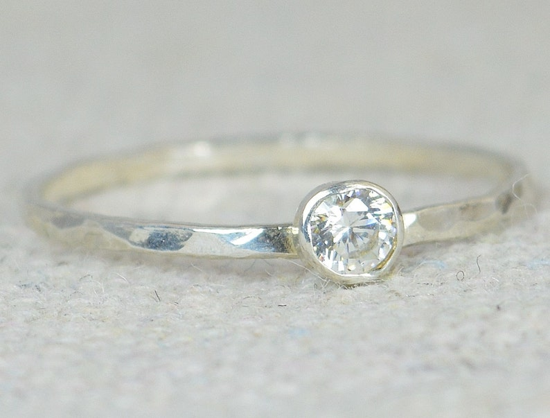 Dainty  CZ Diamond Ring Thin Mothers Ring Hammered image 0