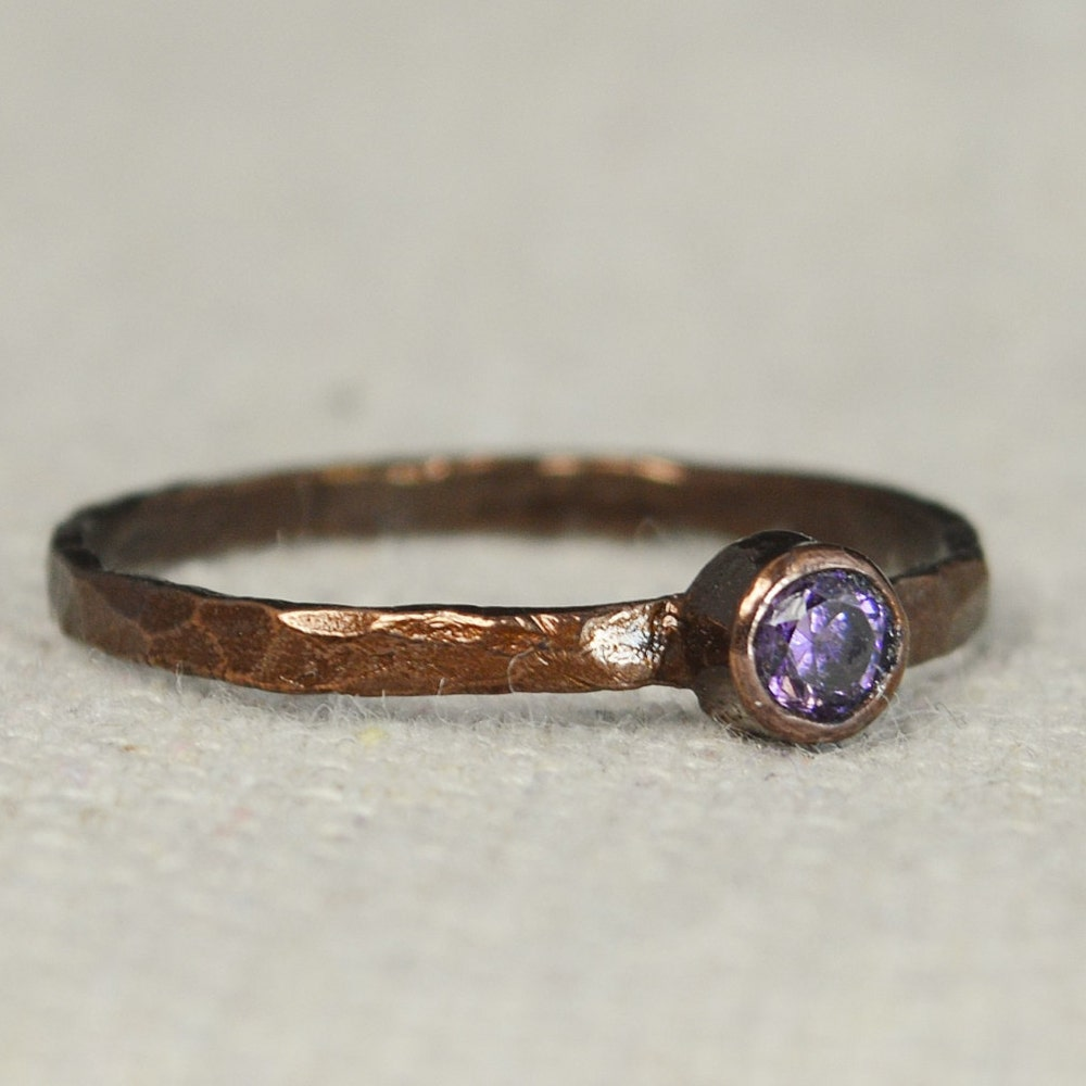 Bronze Copper Amethyst Ring Classic Size Stackable Rings image 0