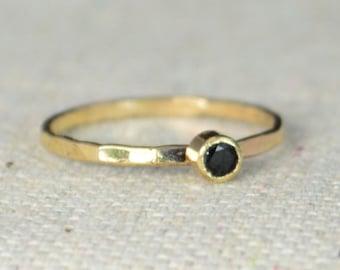 14k Gold Filled Black Spinel Ring, 3mm gold solitaire, Solitare, solitaire ring, 14k Gold, Black Ring, Mothers Ring, Gold Filled band, gold