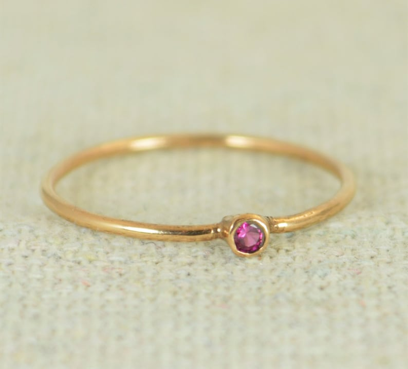 Tiny Ruby Ring Ruby Stacking Ring Rose Gold Filled Ruby image 0