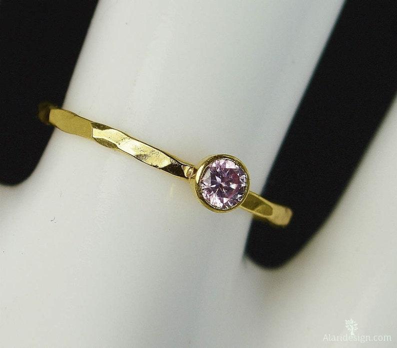 Dainty Solid 14k Gold Pink Tourmaline Ring 3mm gold image 0