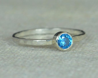 Small Blue Zircon RIng, Hammered Silver Ring, Stackable Rings, Mother's Ring, December Birthstone Ring, Skinny Ring, Mothers Ring