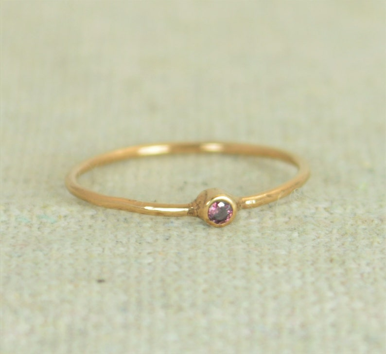 Tiny Alexandrite Ring Rose Gold Filled Alexandrite Stacking image 0