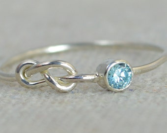 Infinity Aquamarine Ring, Sterling Silver, Stackable Rings, Mother's Ring, March Birthstone Ring, Infinity Ring, Infinity Knot