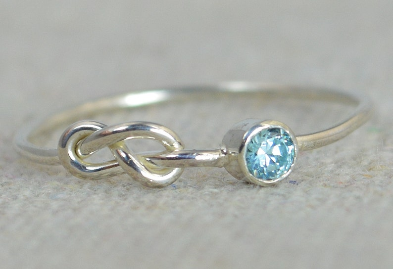 Infinity Aquamarine Ring Sterling Silver Stackable Rings image 0
