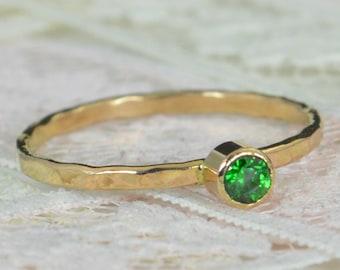 Emerald Engagement Ring, 14k Gold, Emerald Wedding Ring Set, Rustic Wedding Ring Set, Natural Emerald Ring, Solid 14k Emerald Ring