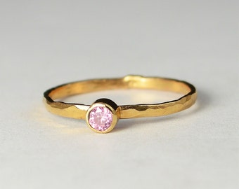 Classic Solid 14k Rose Gold Tourmaline Ring, 3mm Solitaire, Pink Ring, Real Gold, October Birthstone, Mothers Ring, Solid Rose Gold, band