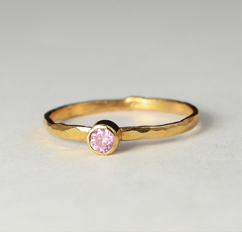 Classic Solid 14k Rose Gold Tourmaline Ring 3mm Solitaire image 0