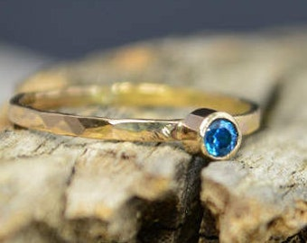 Classic Solid 14k Gold Blue Zircon Ring, 3mm gold solitaire, solitaire ring, real gold, December Birthstone, Mothers RIng, Solid gold band