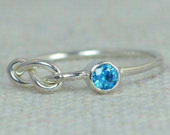 Blue Zircon Infinity Ring, Sterling Silver, Stackable Rings, Mother's Ring, December Birthstone Ring, Infinity Ring, Silver Blue Zircon Ring