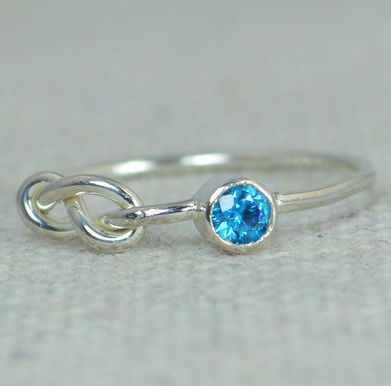Blue Zircon Infinity Ring Sterling Silver Stackable Rings image 0