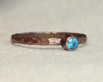 Bronze Copper Blue Zircon Ring, Classic Size, Stackable Rings, Mother's Ring, December Birthstone, Copper Jewelry, Pure Copper, Band