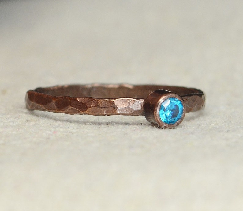Bronze Copper Blue Zircon Ring Classic Size Stackable Rings image 0