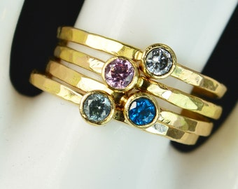 Grab 4 Classic 14k Gold Filled Birthstone Rings, Gold solitaire, solitaire ring, 14k gold filled,Birthstone, Mothers Ring, gold band